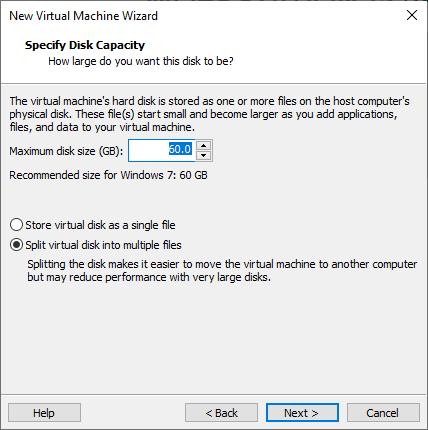 Split virtual disk into multiple files