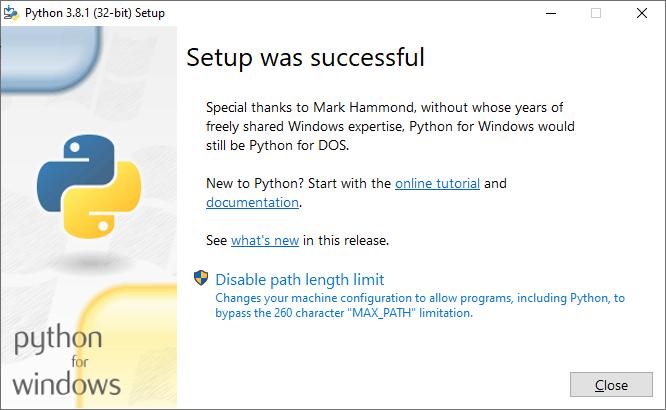 Python setup was seccessful