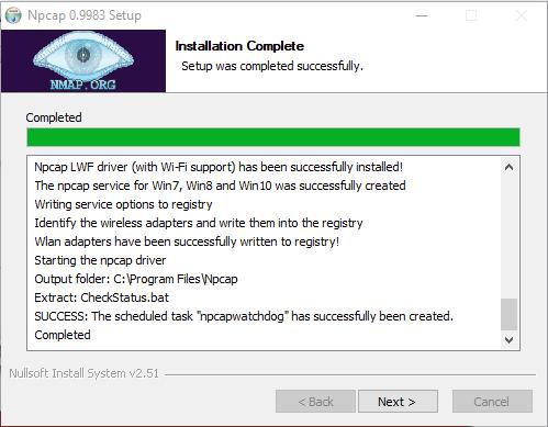 Npcap İnstallation complete