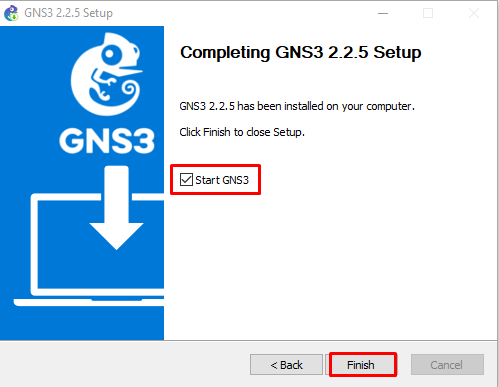 gns3 setup is finished