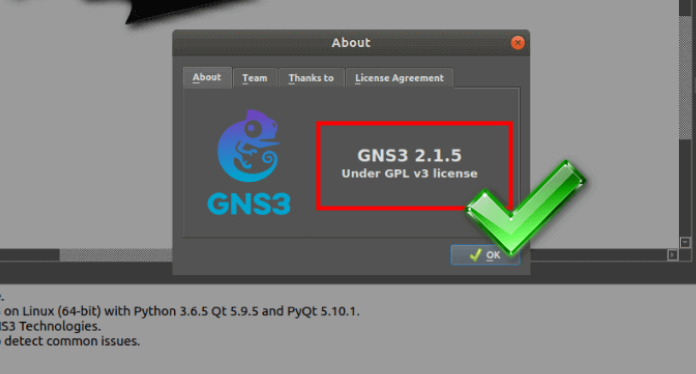 GNS3 About