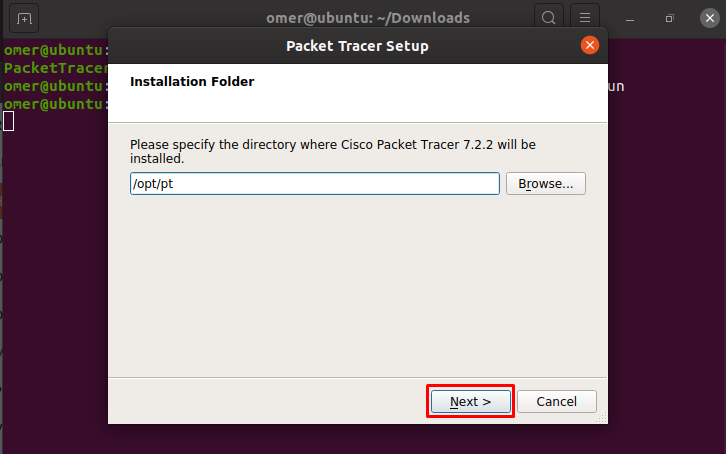 configure the installation folder