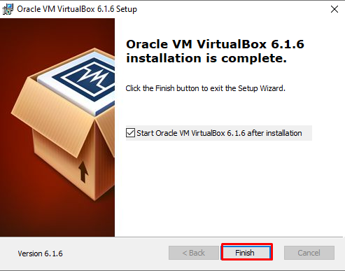 Oracle VirtualBox installation is complete