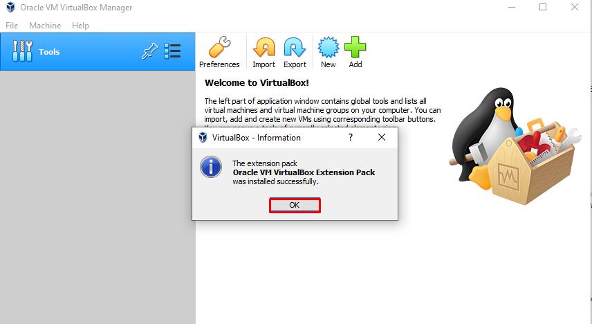 VirtualBox guest add-on license installed