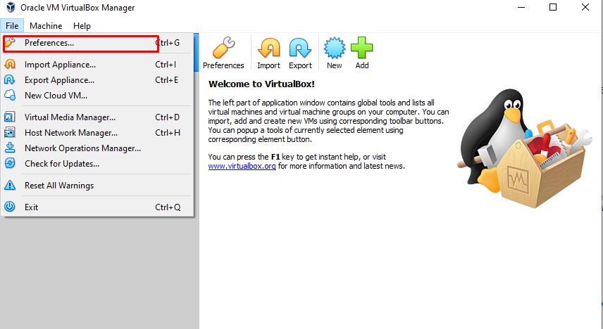 """VirtualBox """"File -> Preferences"""""""
