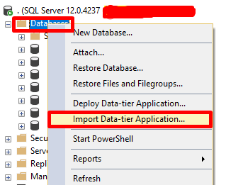 """Databases> Import Data-tier Application"