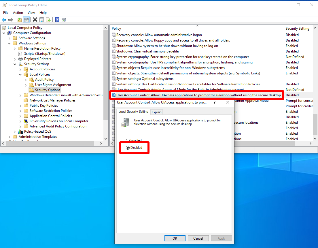 Allow UIAccess applications to prompt for elevation without using the secure desktop