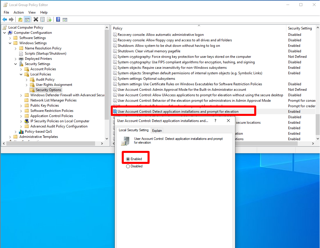 Detect application installations and prompt for elevation