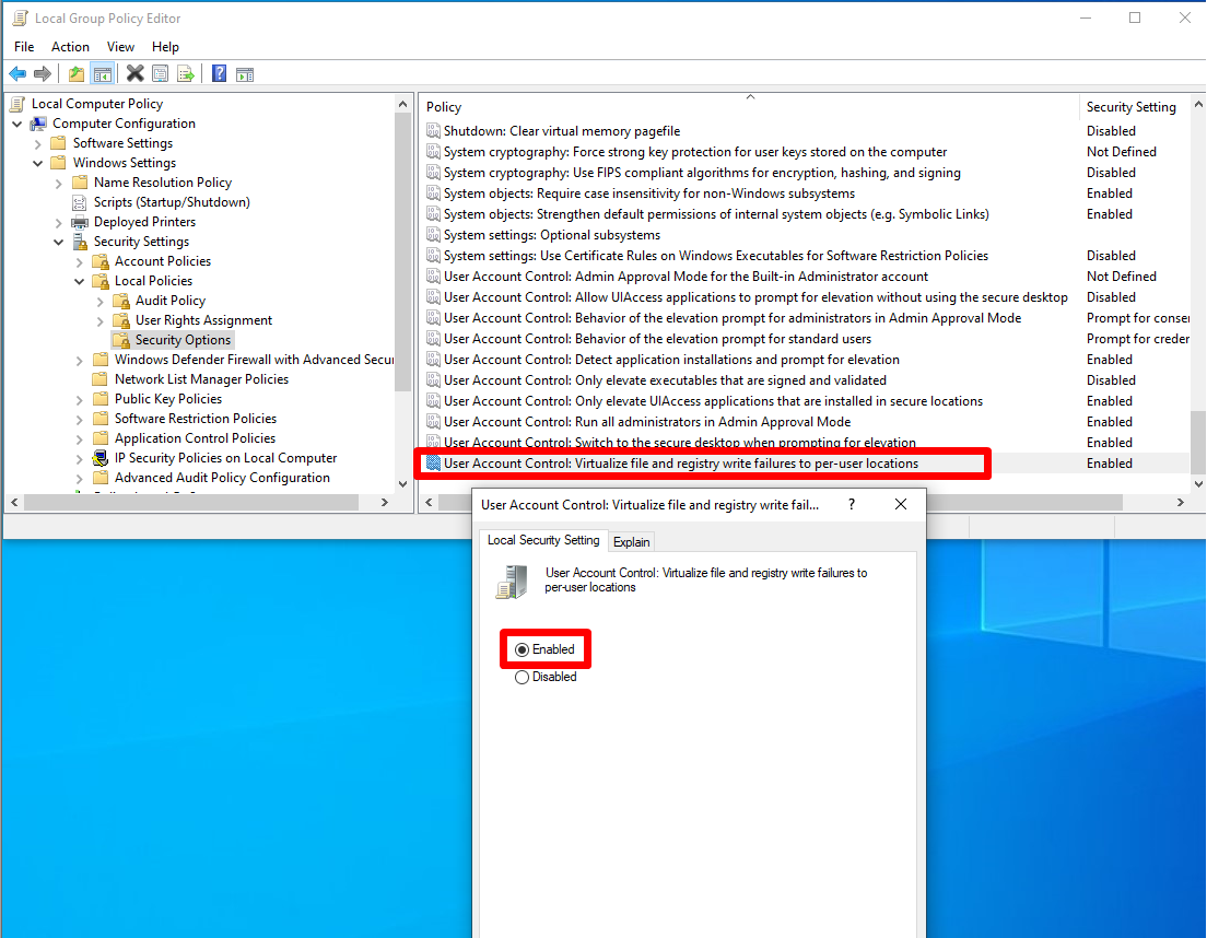 Virtualize file and registry write failures to per-user locations