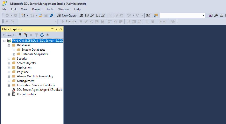 SQL Management Studio Console is opened
