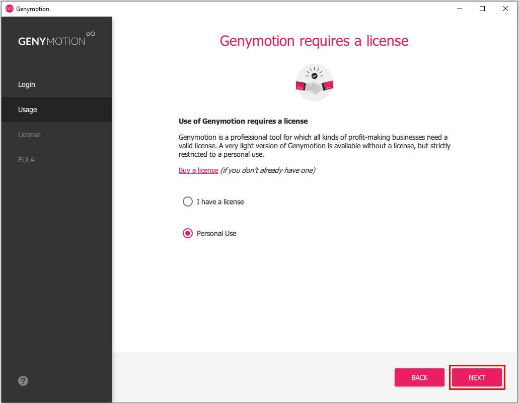 Genymotion Reguires a license