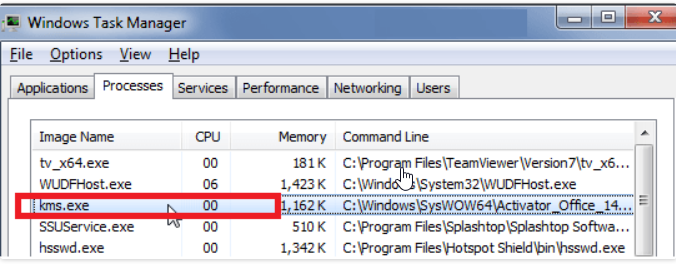 KMS.exe process in Windows Task Manager