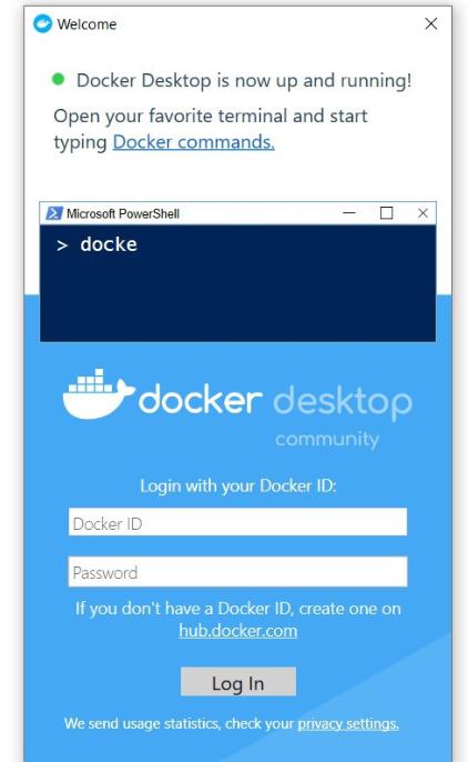 Docker's login screen