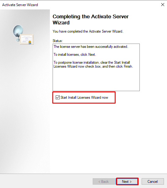 Completing the Activate Server Wizard