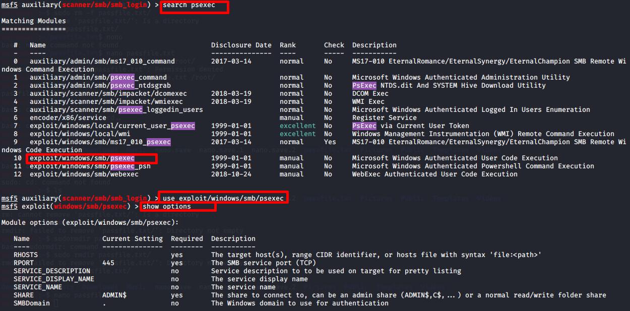 Search psexec module