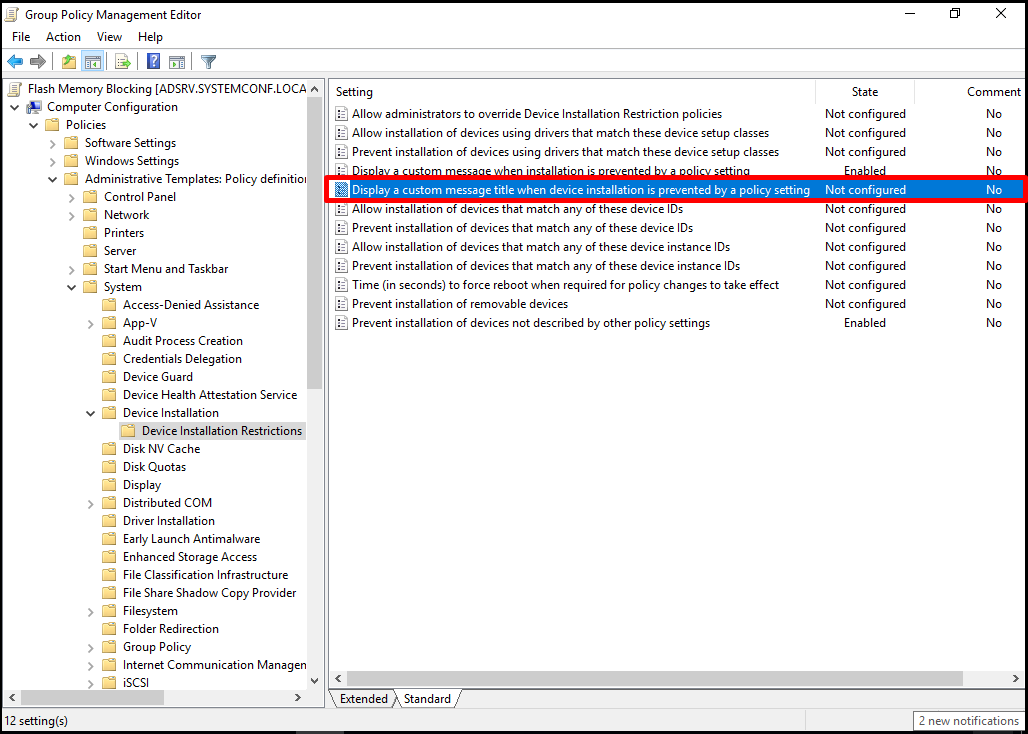 Display a custom message title when device installation is prevented a policy setting