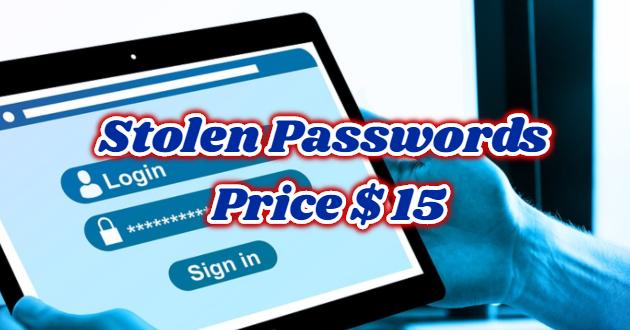 Stolen Passwords Price $ 15