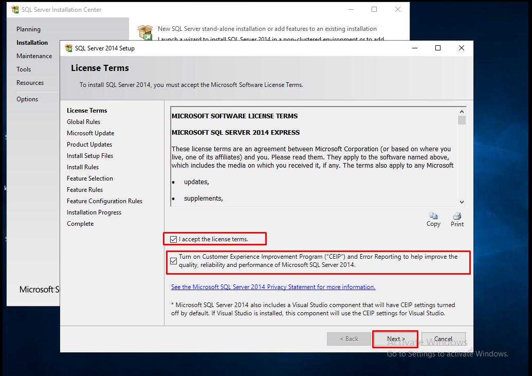 SQL Server 2014 Setup