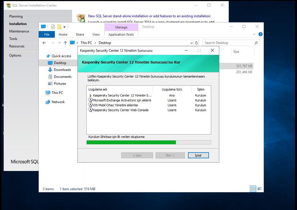 Installing Kaspersky Security Center Administrator Server