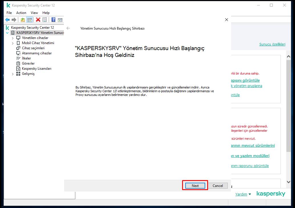 Kaspersky Security Center Startup wizard