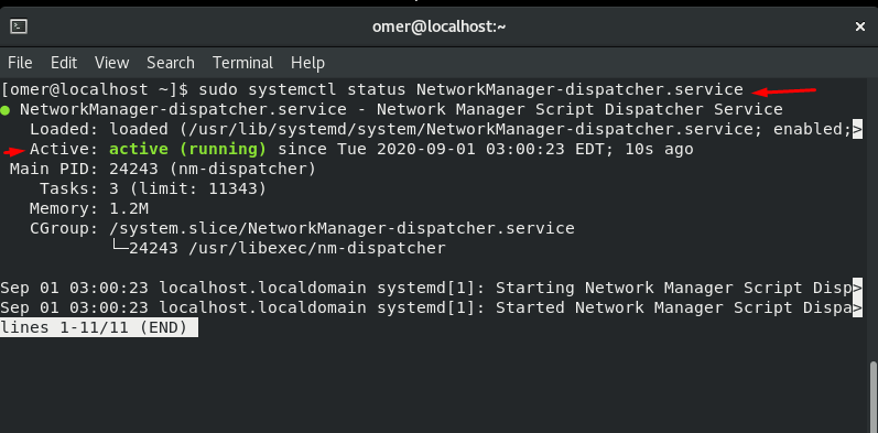 sudo systemctl status NetworkManager-dispatcher.service