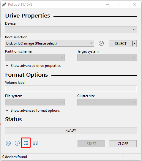 Show application settings