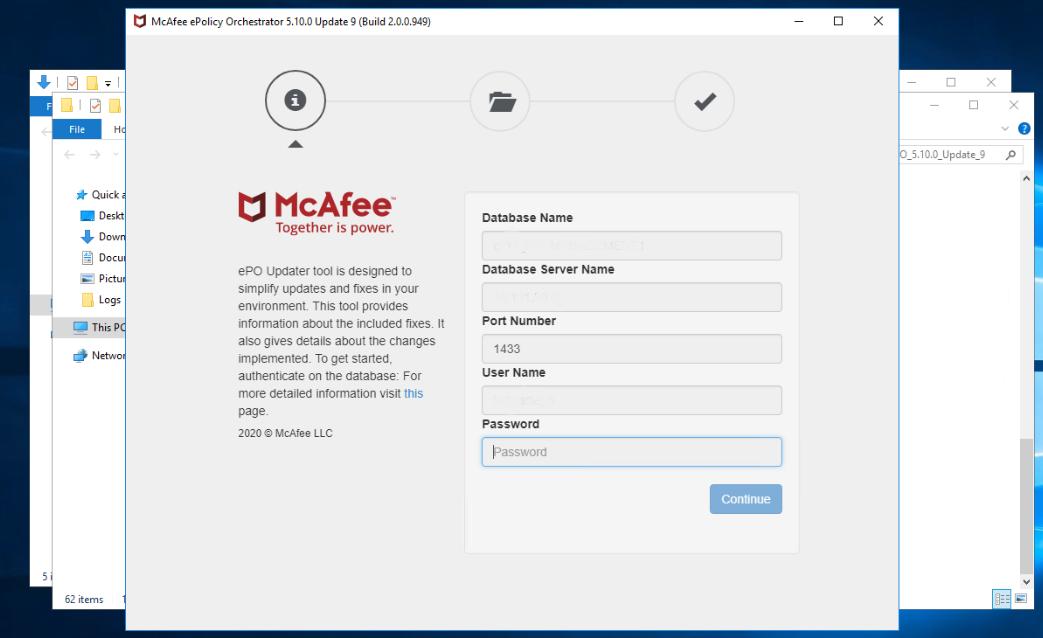 ePO Database User Password