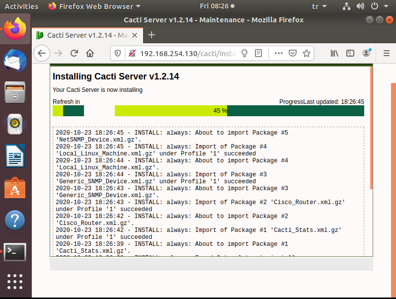 installing cacti server