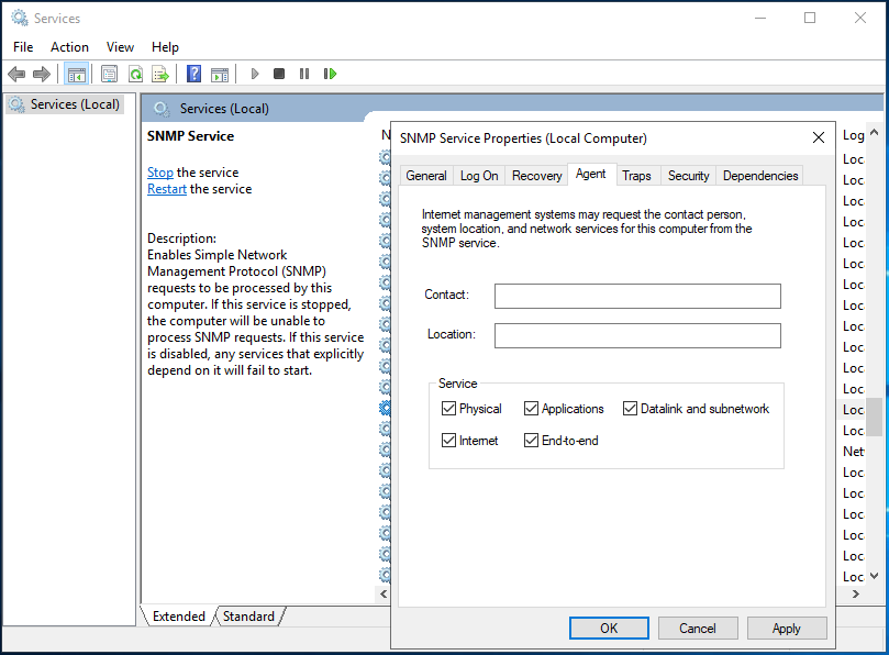 SNMP Service>Agent