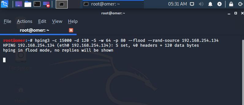 SYN Flood DDoS with hping3