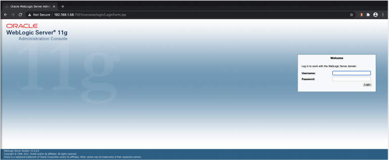 Weblogic login page