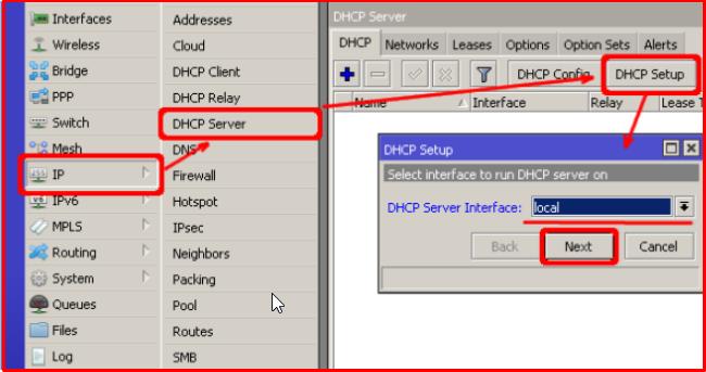 Installing DHCP Server via Winbox
