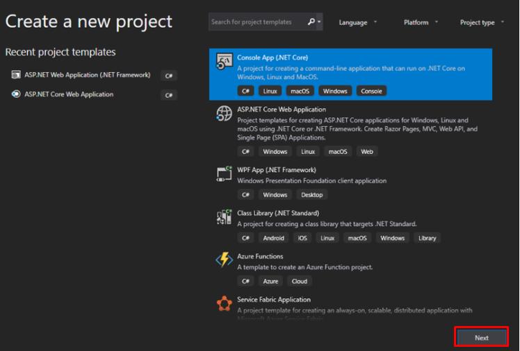 .Net Core Console App