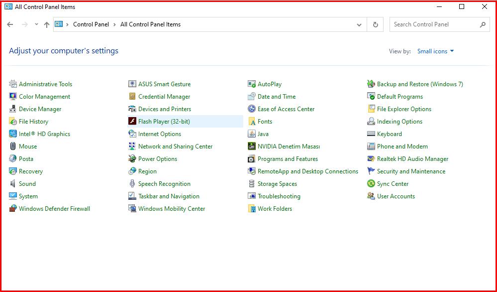 Uninstalling Adobe Flash Player