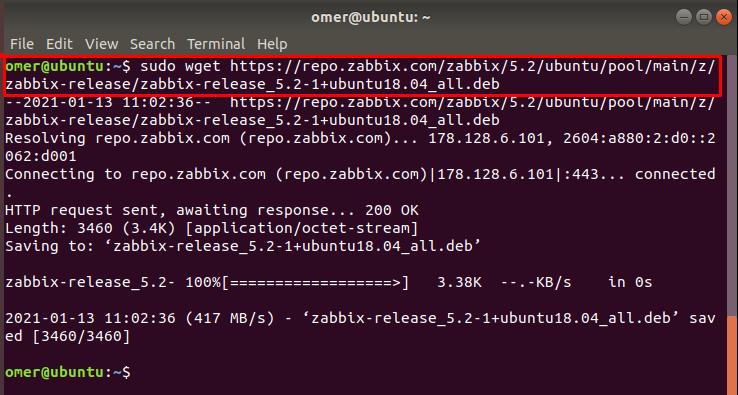 download the Zabbix deb package