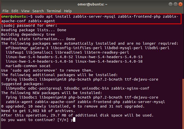 install the Zabbix Server