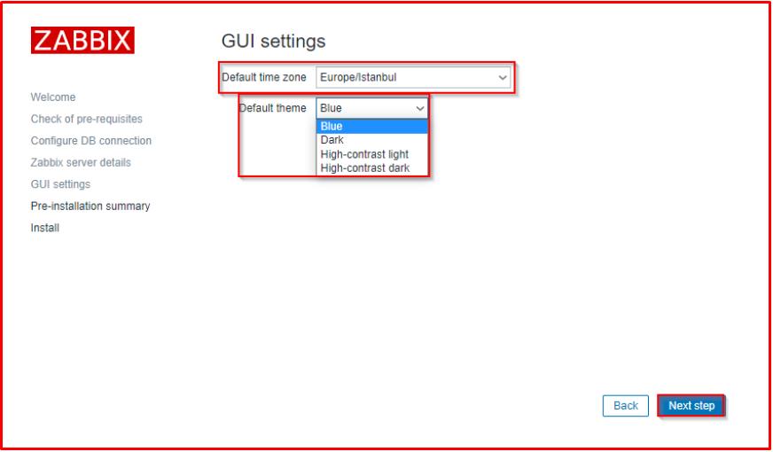 GUI settings