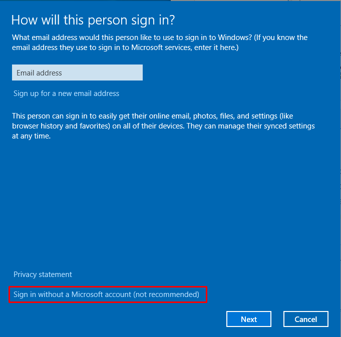 Sign in without a Microsoft account (not recommended)