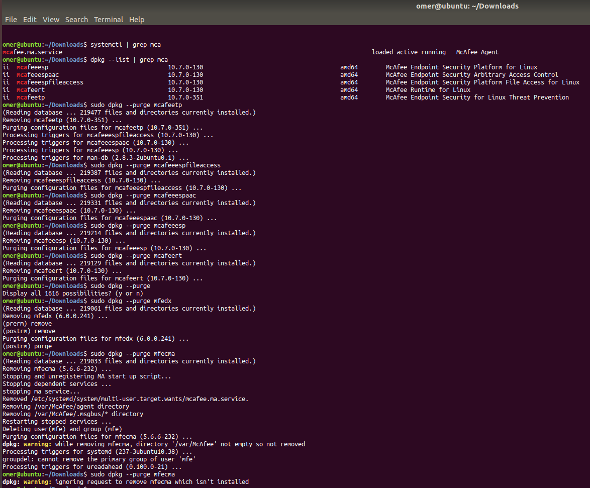 Manually Remove McAfee EDR and McAfee Agent on Linux
