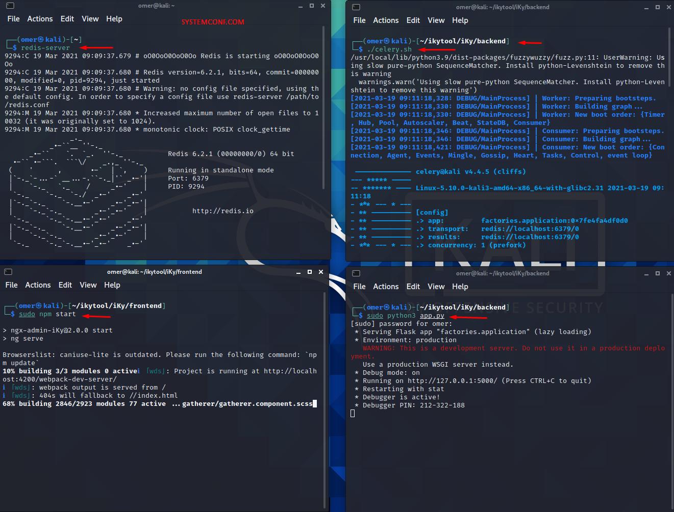 "Starting the ""redis-server, celery.sh, npm and pythone3 app.py"" services"