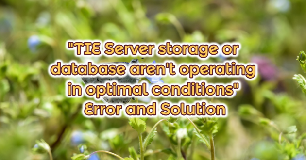"""TIE Server storage or database aren't operating in optimal conditions"" Error and Solution"