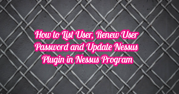 How to List User, Renew User Password and Update Nessus Plugin in Nessus Program