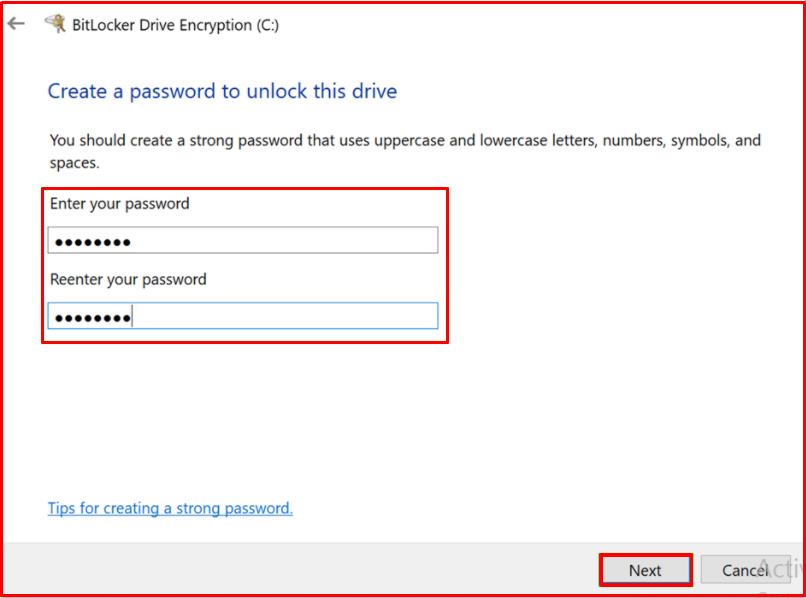 Create a password to unlock this drive