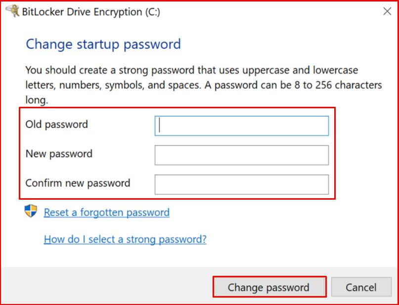 Change startup password