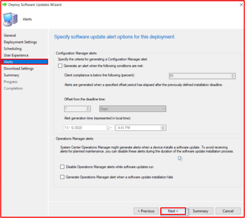 Specify software update alert options for this deployment