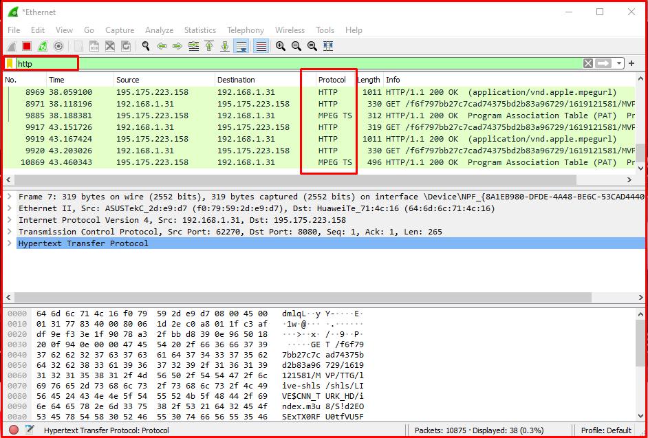 Examining HTTP Traffic