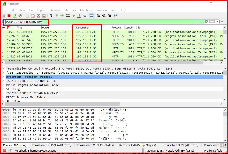Examining HTTP Traffic to an IP Address