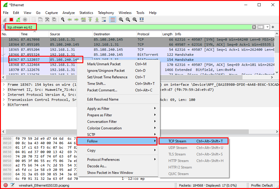 Examining the Contents of the TCP Packet