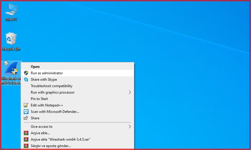 Wireshark setup file as an administrator.